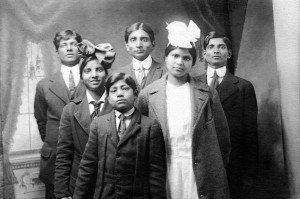 The Chandra family soon after their arrival in America in 1910.  Back row, from left to right: Ramesh, Ishwar, and Mahesh. Middle row: Kanta and Prabha. Front row: Krishna.  All of them would go on to graduate from American universities.  (Courtesy of Liana Belloni.)