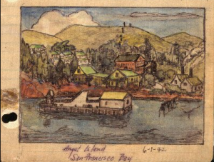 George Hoshida's watercolor sketch of Ayala Cove on Angel Island, photo courtesy of Japanese American
