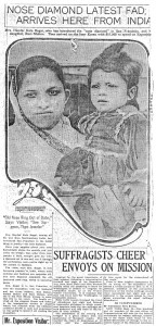 This photograph of Kala Bagai and her youngest son Ram appeared in the San Francisco Call-Post on September 17, 1915.